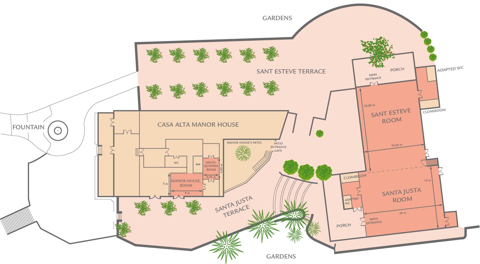 Plano del restaurante para eventos de SantLlei